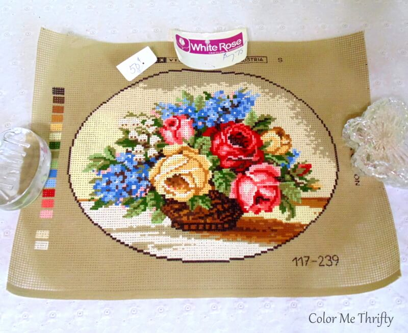 vintage needlepoint pattern of flowers in a basket Made in Austria