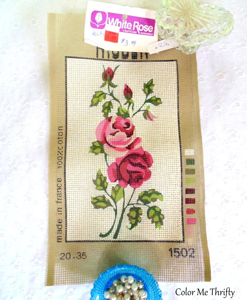 vintage roses needlepoint pattern made in france