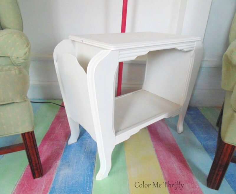 vintage wooden end table painted white