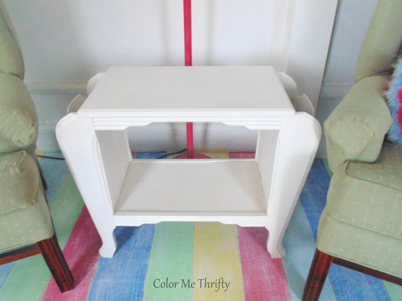 vintage wooden magazine table painted white