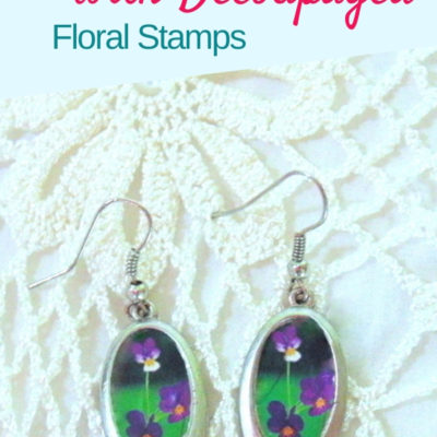 DIY decoupaged earrings makeover with thrifted dangle earrings and flower stamps