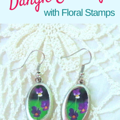 Easy DIY decoupaged earrings makeover with thrifted dangle earrings and flower stamps