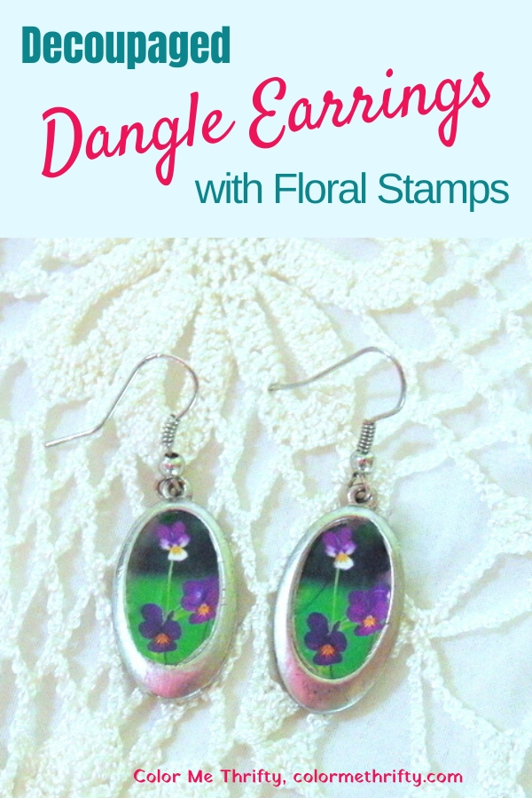 Easy DIY decoupaged floral earrings makeover with thrifted dangle earrings and flower stamps