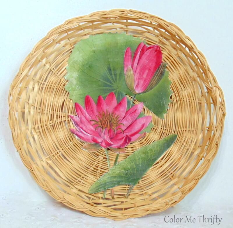 Easy DIY wall art using wicker plates and floral graphics
