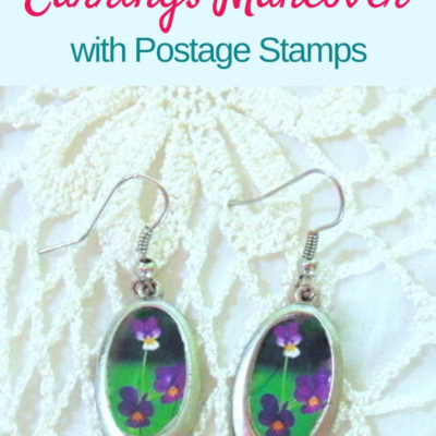 Easy decoupaged earrings makeover with thrifted dangle earrings and flower stamps