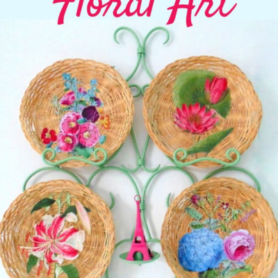 Repurposed wicker plates decoupaged floral art