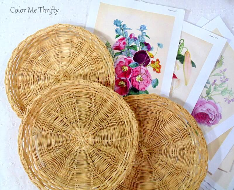 Repurposed wicker plates decoupaged with floral graphics