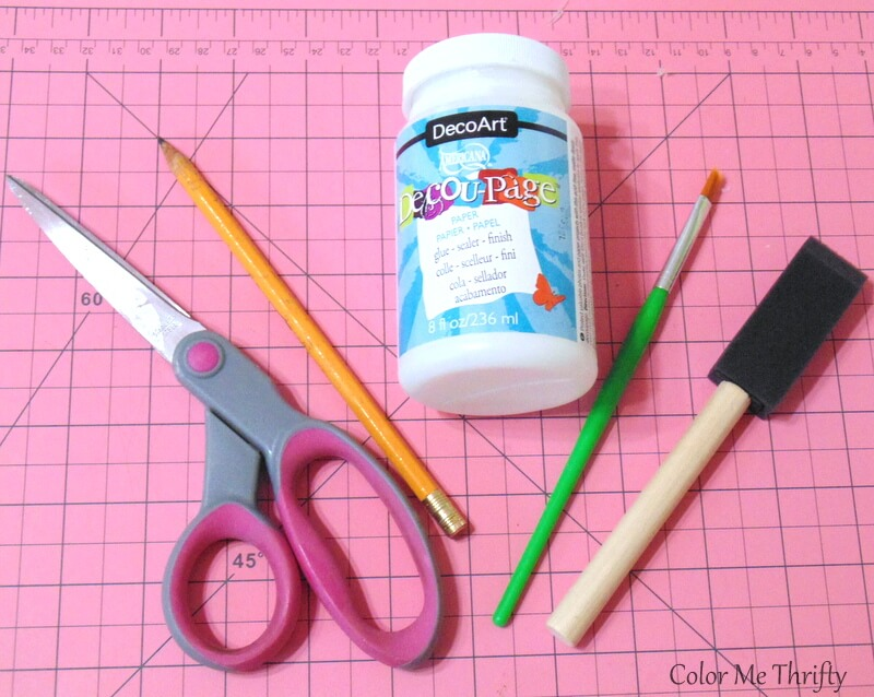 supplies needed for decoupaged earrings makeover