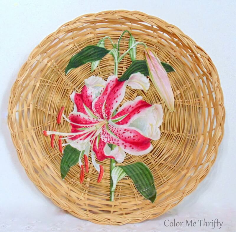 vintage lily graphic decoupaged onto wicker plate