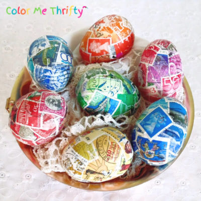 Decoupage Plastic Easter Eggs with Postage Stamps