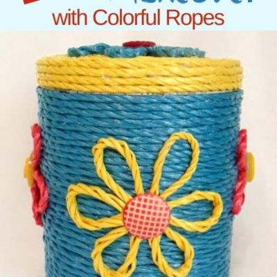 Easy Old Metal Canister Makeover with colorful ropes