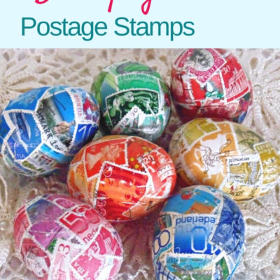 How to decoupage plastic Easter eggs with fun and colorful postage stamps