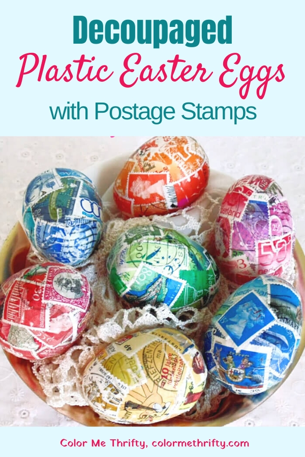 How to give plastic Easter eggs a makeover with decoupaged postage stamps