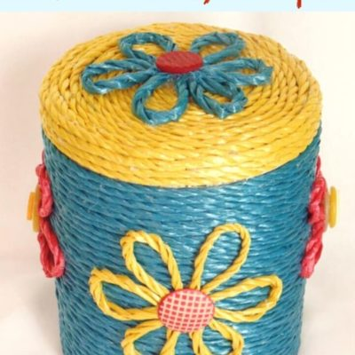 Old Metal Canister Makeover with colorful ropes