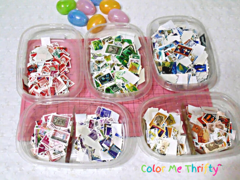 assorted postage stamps used for decoupaging Easter eggs