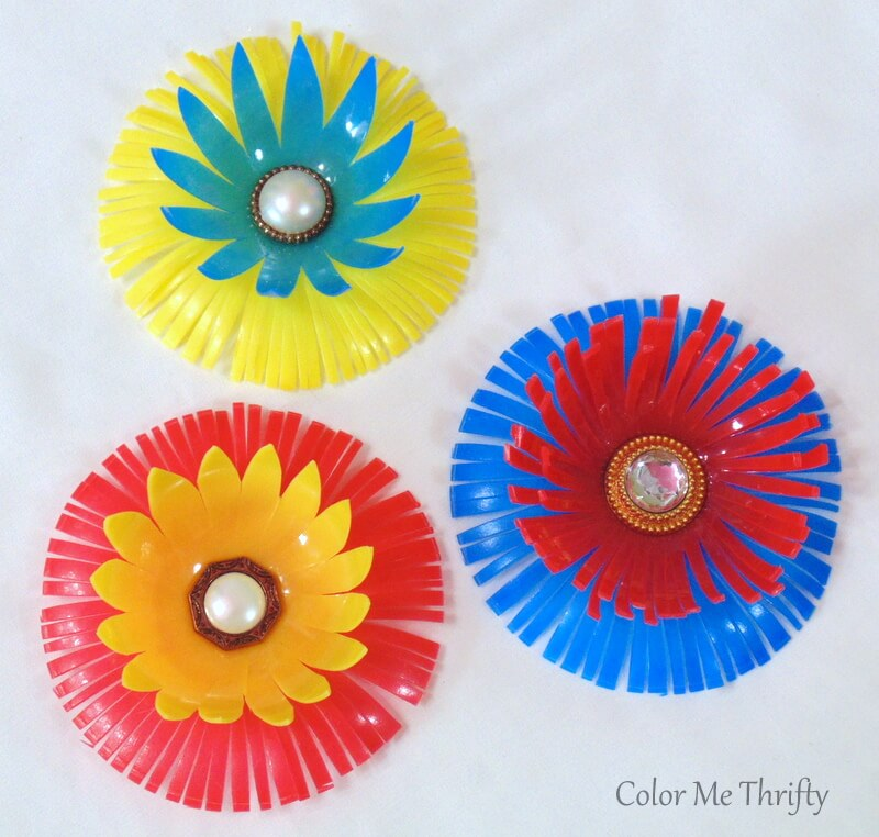 colorful diy flowers created from repurposed plastic balls