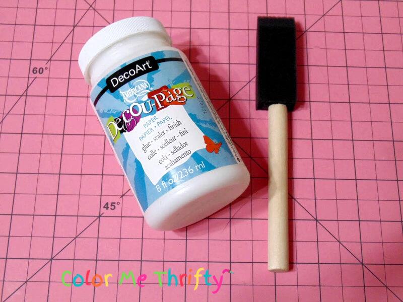 decoupage medium and foam brush for decoupaging