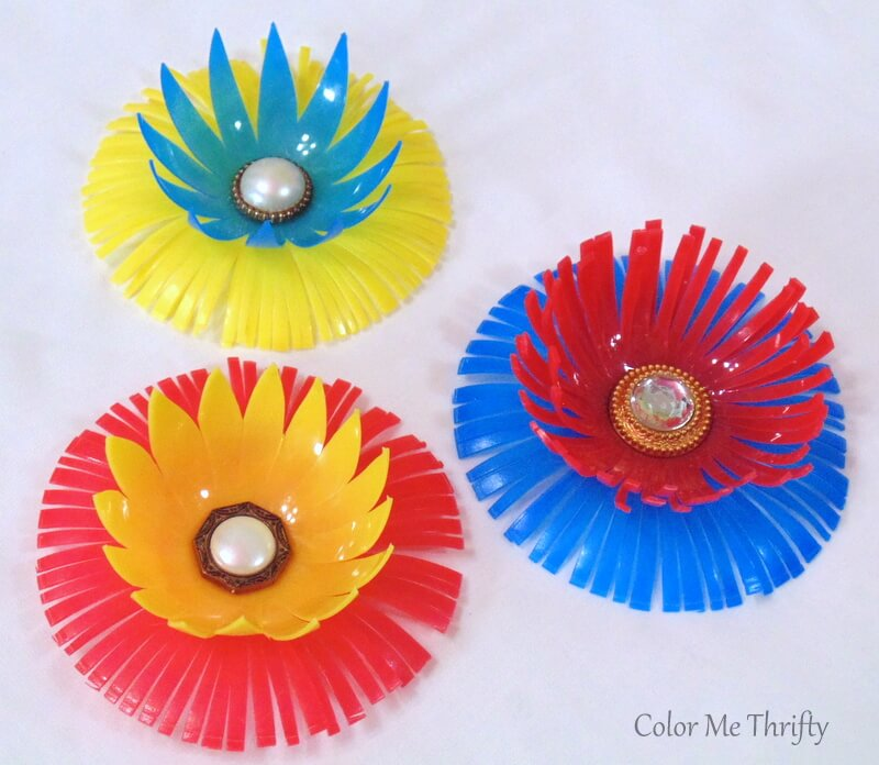 finished diy plastic flowers created from plastic bouncy castle balls