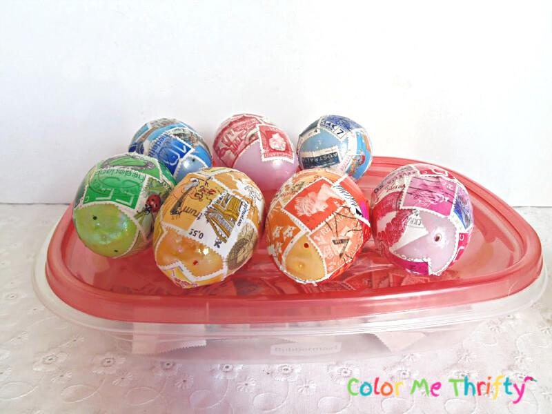 letting decoupaged plastic  Easter eggs dry