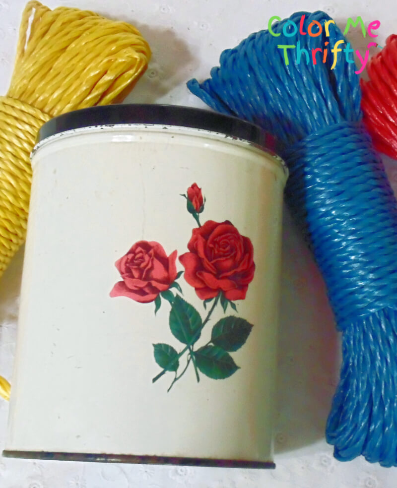 metal canister makeover with plastic woven rope