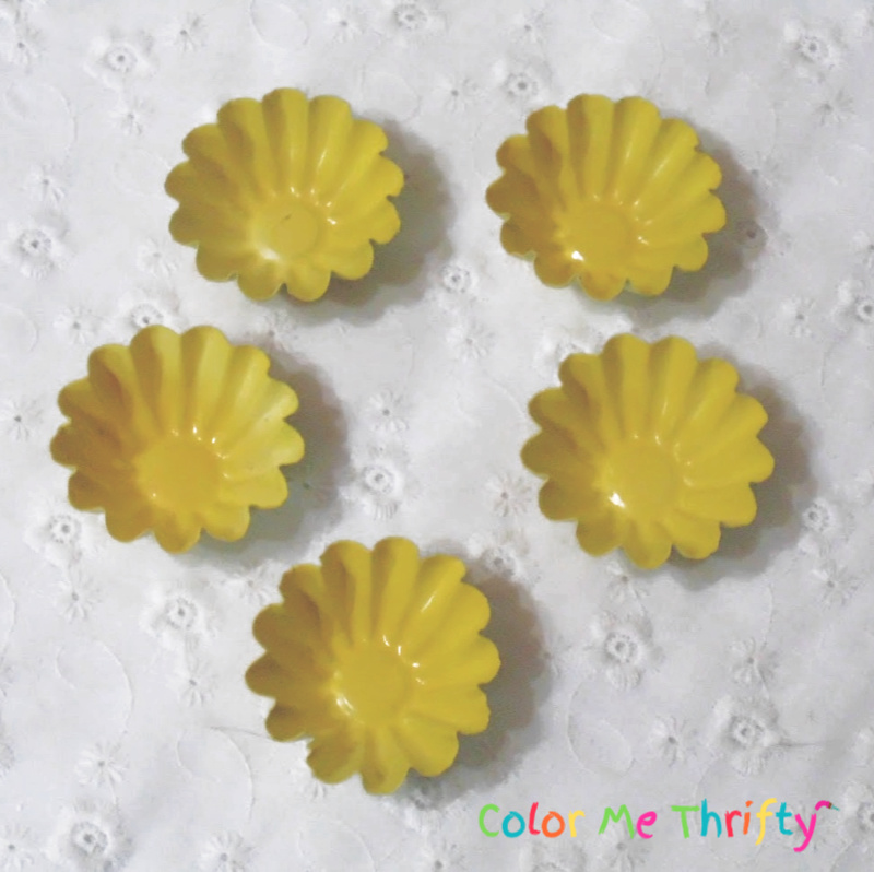 mini tart molds spray painted yellow for jello mold flower centers