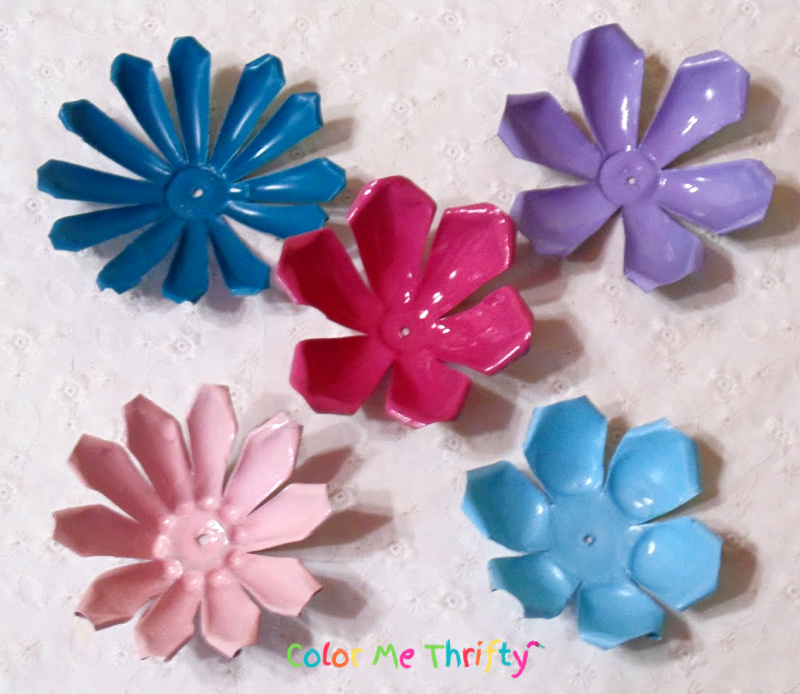vintage aluminum jello mold flowers spray painted in fun colors