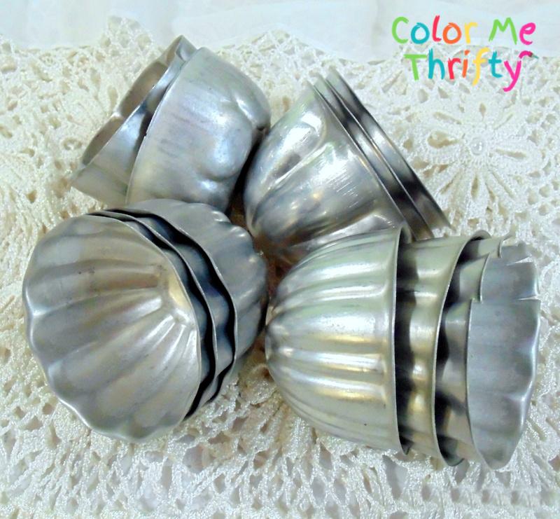 vintage aluminum jello molds for diy repurposed flower project