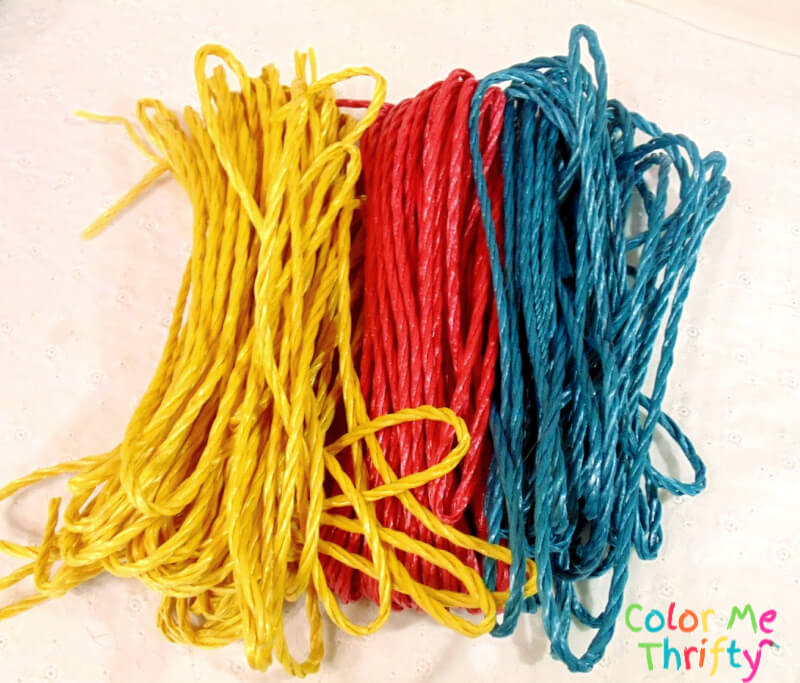 yellow red and blue plastic rope for metal canister makeover