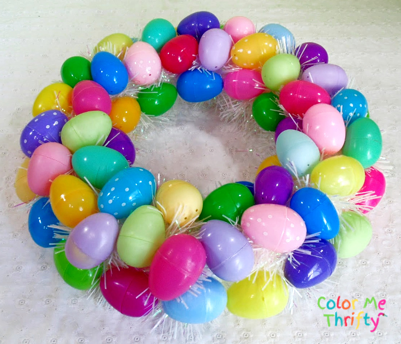 Colorful and Fun DIY plastic Easter Egg wreath 2