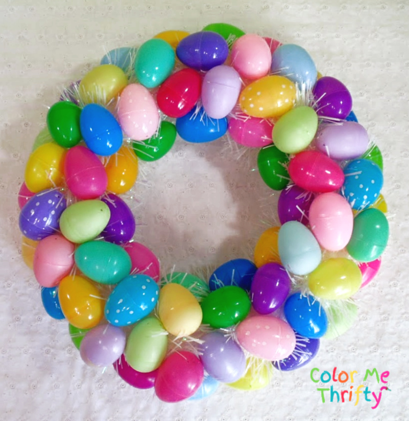 Colorful and Fun DIY plastic Easter Egg wreath