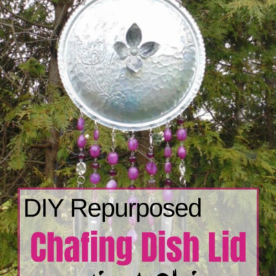 DIY Repruposed Chafing Dish Lid Wind Chime with measuring spoons