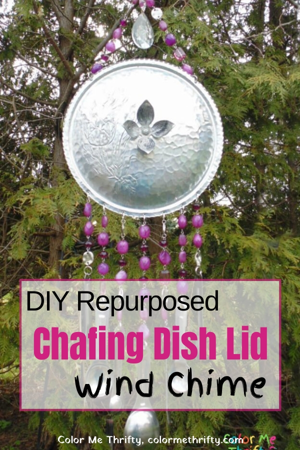 DIY Repruposed Chafing Dish Lid Wind Chime with repurposed necklace and stainless steel measuring spoons