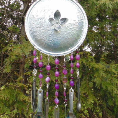 Repurposed chafing dish lid into diy wind chimes