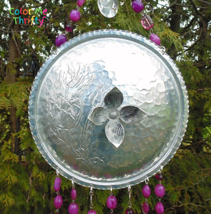 Repurposed chafing dish lid wind chimes