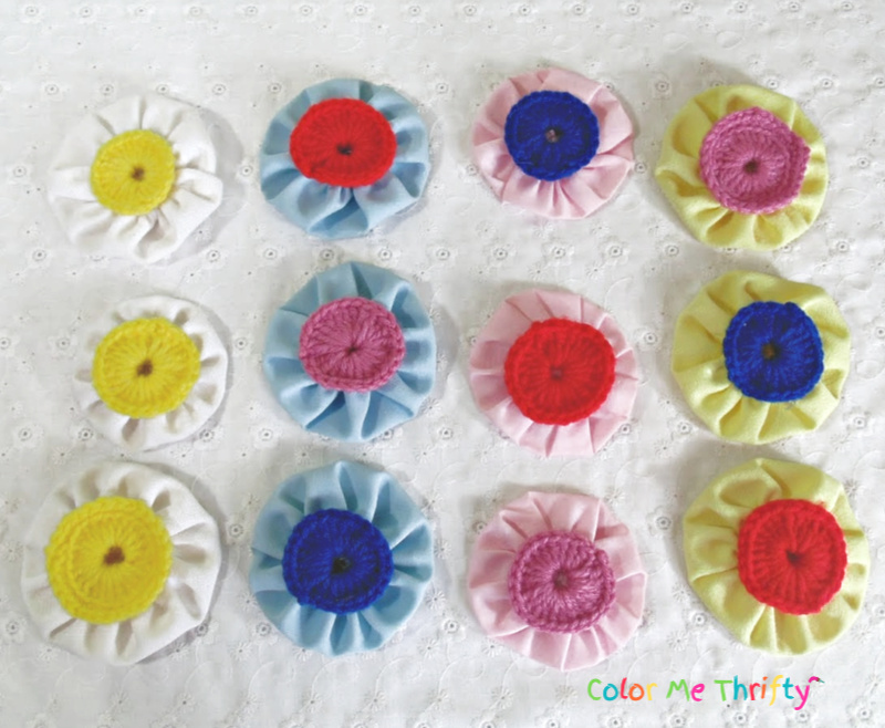 assorted diy yoyo flowers in mixed colors