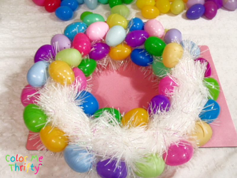 plastic easter eggs glued onto inisde of wreath