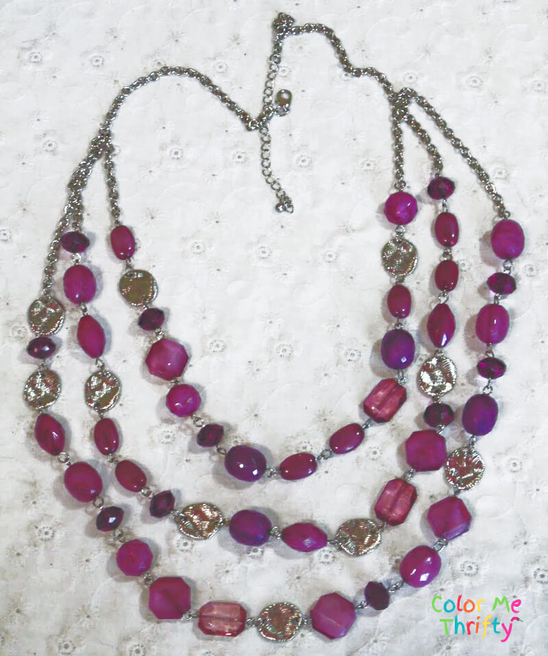 purple and pink beaded necklace used in diy wind chime