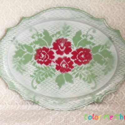 Silver Tray Makeover with Spray Paint and Doily
