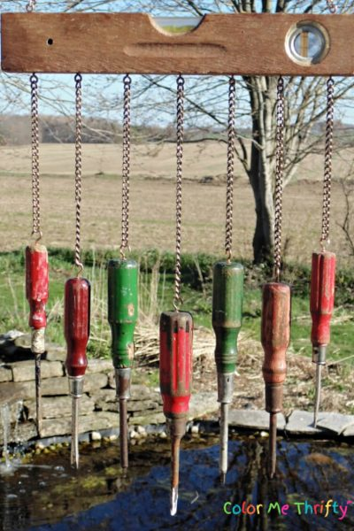 Create a fun diy wind chime using repurposed screwdrivers and level