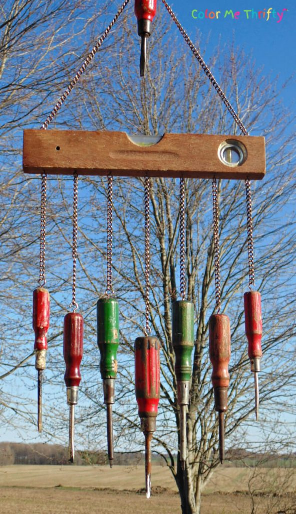 Fun diy wind chime out of repurposed level and screwdrivers