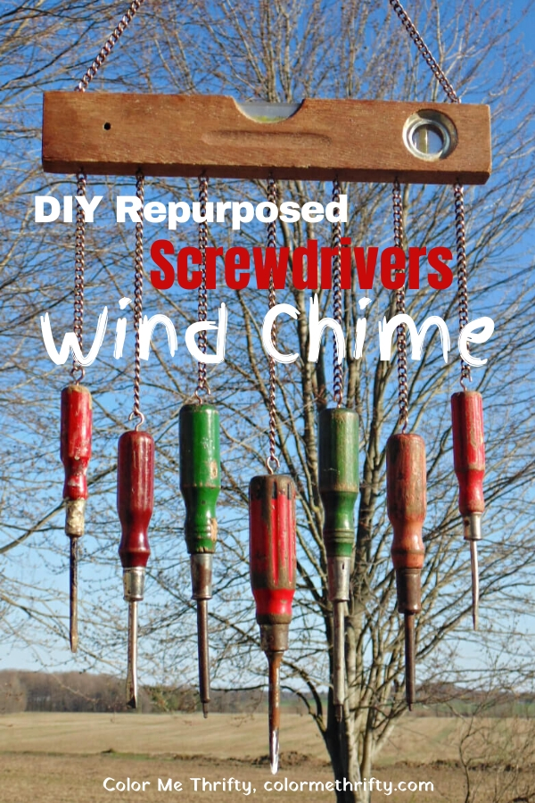 Fun diy wind chime out of repurposed wooden level and screwdrivers