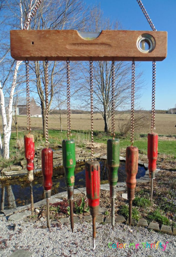 repurposed screwdrivers into diy wind chime