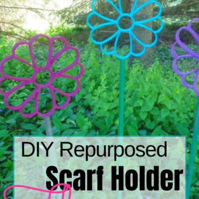 DIY Repruposed Scarf Holder Garden Art Flowers