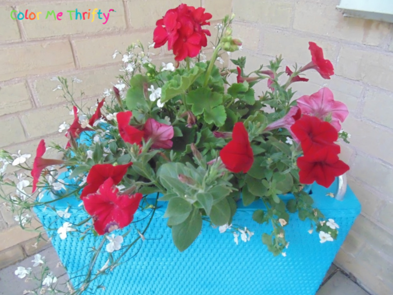 Quick and easy repurposed laundry hamper planter