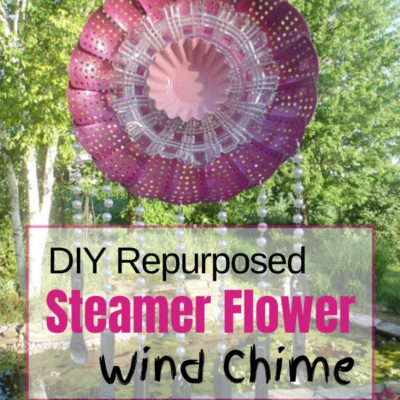 Create a repurposed metal steamer wind chime that looks like a flower with measuring spoon chimes