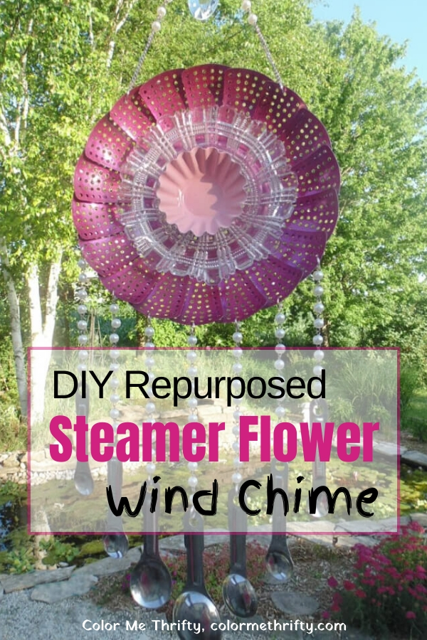 Here's how to create a reused metal steamer wind chime that looks like a flower with scoop chimes