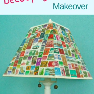 DIY decoupaged lampshade makeover with postage stamps
