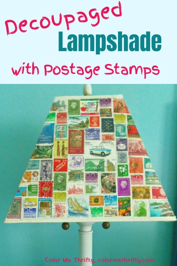 Decoupaged lampshade makeover with fun and colorful postage stamps