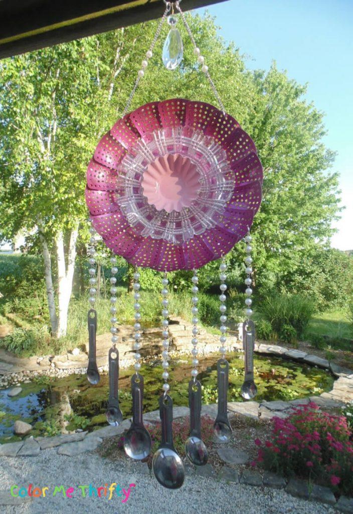 Garden art flower wind chime from reused steam diaper chimes