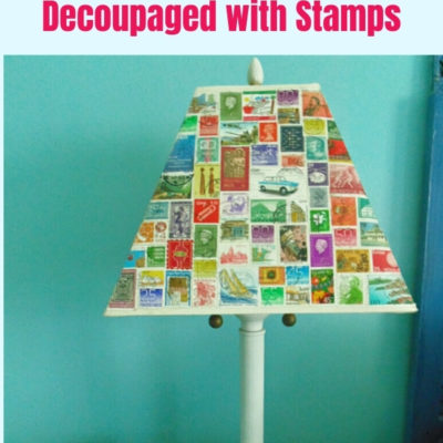 How to decoupage a lampshade with postage stamps